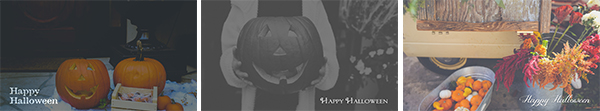 Halloween text over image slides