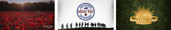 Examples of Anzac Day slides available on the Manage My Nightlife web app