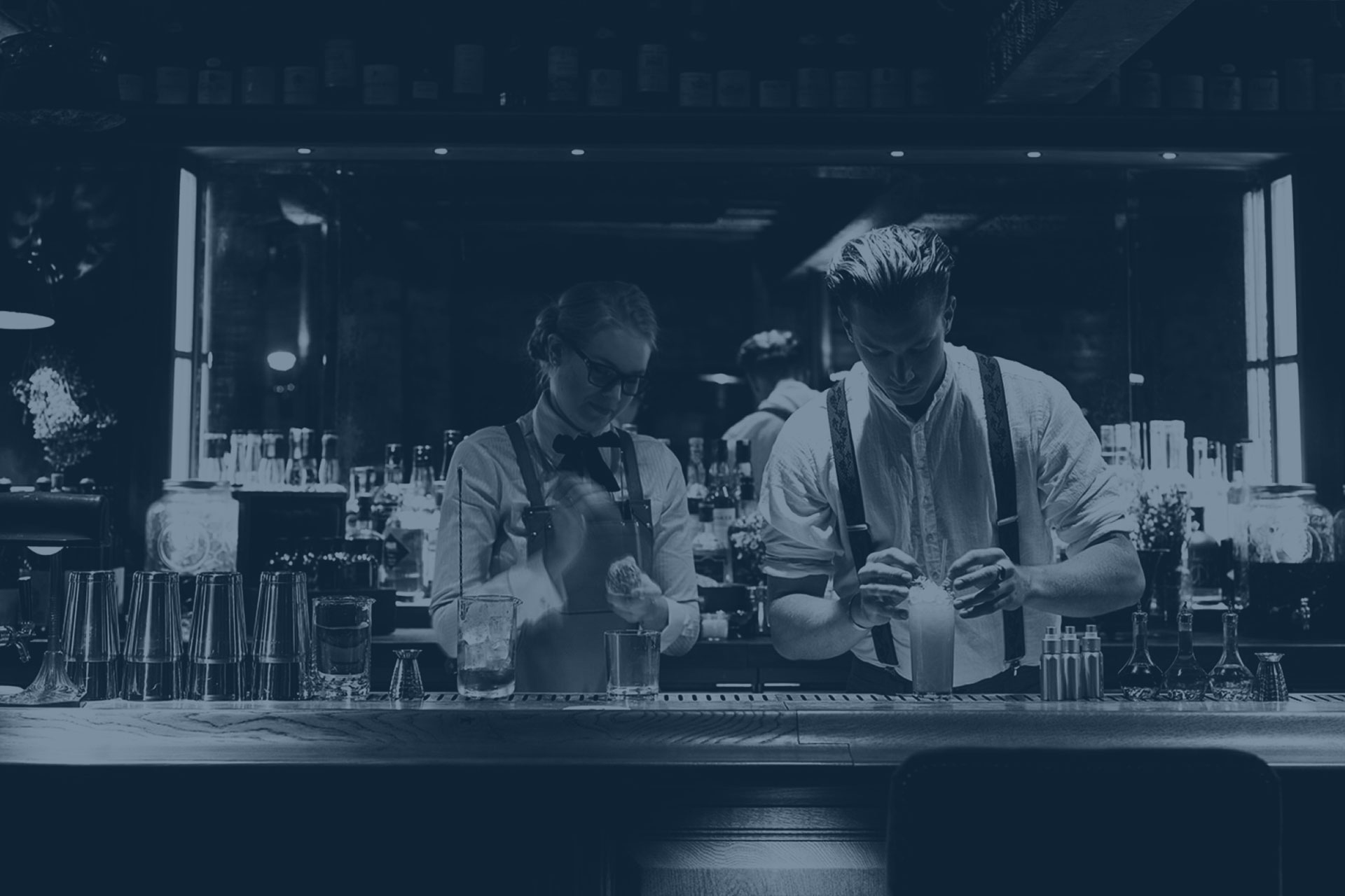 Music For Bars - Bartenders mixing cocktails at Charlie Parker's - Paddington