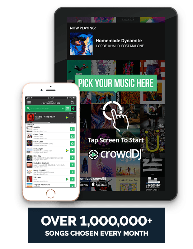 Over 1,000,000 songs chosen with crowdDJ every month.